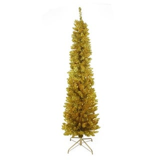 """6' x 20"""" Pre-Lit Gold Artificial Tinsel Pencil Christmas Tree - Clear Lights"""