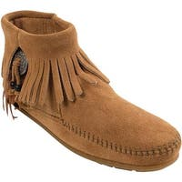 Minnetonka Women's Bootie with Concho Taupe Suede