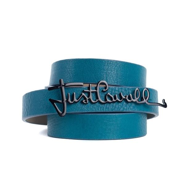 Roberto Cavalli Blue Leather Black Enamel Just Cavalli Logo Belts