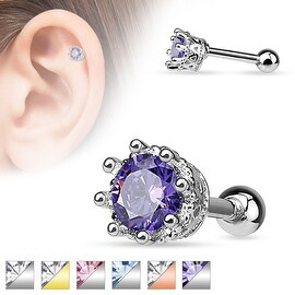 Vintage Style 8 Prong Set CZ 316L Surgical Steel Cartilage/Tragus Barbell (Sold Ind.) (2 options available)