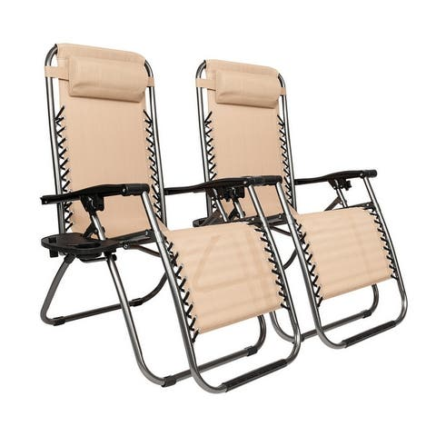 Folding Zero-grav Chaise Recliners (Set of 2)