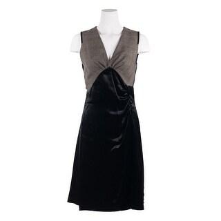 Prada Women Black V Neck Checkered Wool Sleeveless Velvet Dress