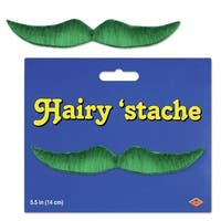 """Pack of 12 Green Hairy Mustache Costume Accessories 5.5"""""""