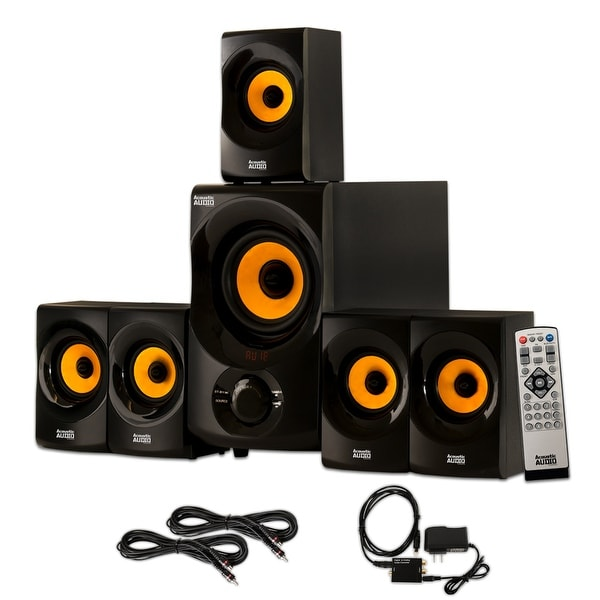 Acoustic Audio AA5170 Home 5.1 Bluetooth Speaker System Optical In 2 Ext. Cables
