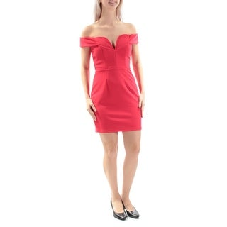 CITY STUDIO $59 Womens New 2484 Red Ribbed Textured Sheath Dress 5 Juniors B+B