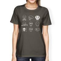 Skulls Shirt Womens Round Neck Cotton Dark Grey Horror Night Tshirt