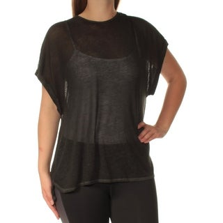 TOMMY HILFIGER Womens Black Short Sleeve Crew Neck Top Size: L