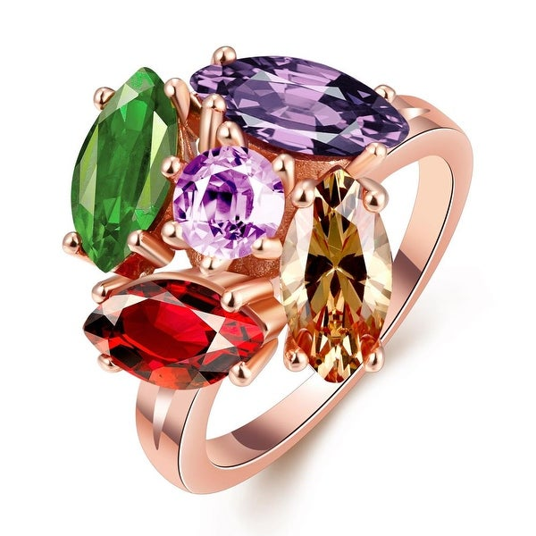 5 Piece Multi Gem Rose Gold Plated Ring