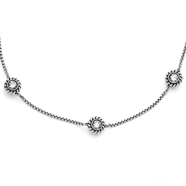 Chisel Stainless Steel CZ and Black Onyx Reversible with 3.5in extension Necklace (2 mm) - 20 in
