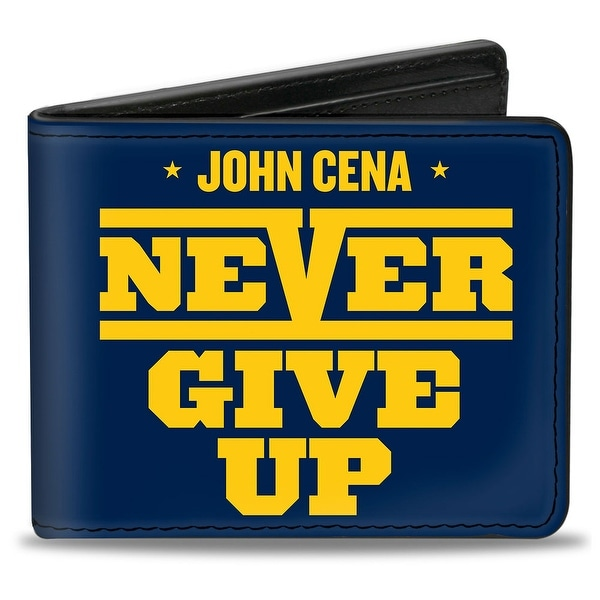 John Cena Never Give Up + Fireman's Carry Pose Navy Gold White Bi Fold Wallet - One Size Fits most