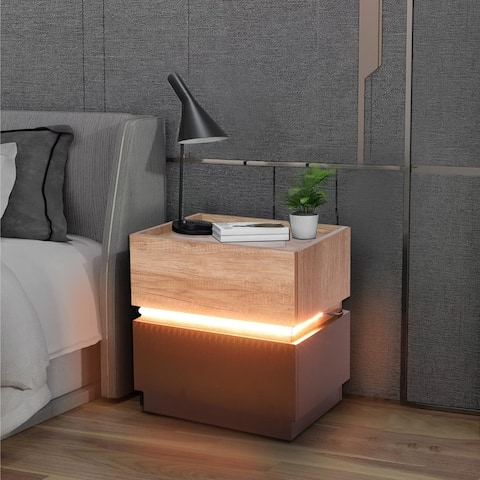 Modern LED Bedside Table With 16-color RGB Lighting, Can Be Combined Arbitrarily