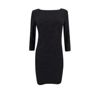 Calvin Klein Women's Petite Glitter Stripe V-Back Sheath Dress (4P, Black) - Black - 4P