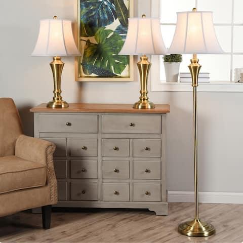 StyleCraft Brass Wood Floor and Table Lamp Set - Geneva White Fabric Shade (Set of 3)