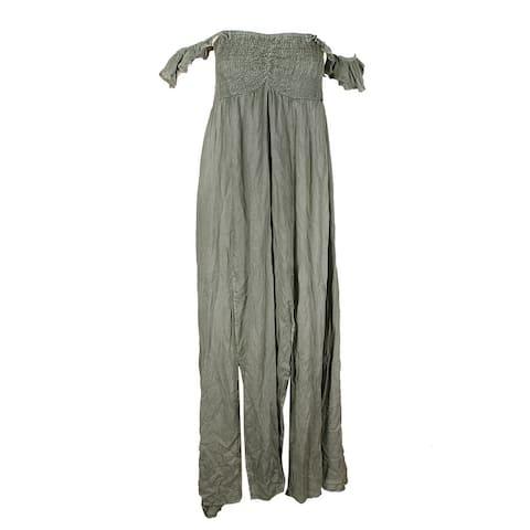 Raviya Sage Green Smocked Off-The-Shoulder Ruffled Maxi Dress Cover-Up XL