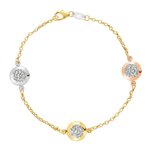 Crystaluxe Station Bracelet with Swarovski Elements Crystals in 10K Three Tone Gold-Bonded Sterling Silver -