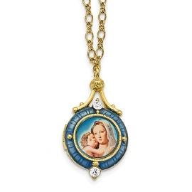 14k Gold IP Holy Mother & Child Enameled & Crystal Locket Necklac Necklace - 18in