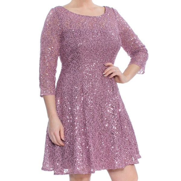 e2c7113ebd SLNY Womens Purple Sequined Lace 3/4 Sleeve Scoop Neck Above The Knee Fit +  Flare Party Dress Size: 14