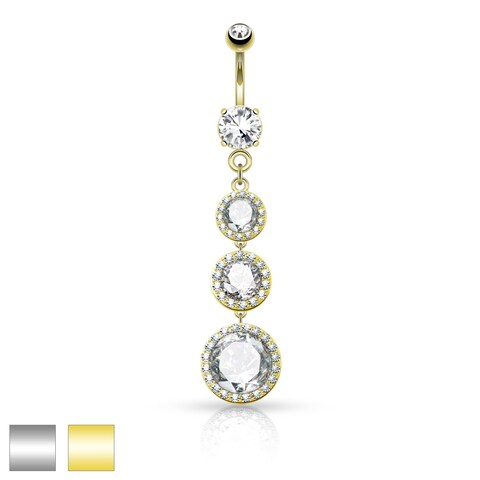 Triple CZ Pave around Large CZ Drops Surgical Steel Belly Button Navel Ring - 14GA (Sold Ind.)