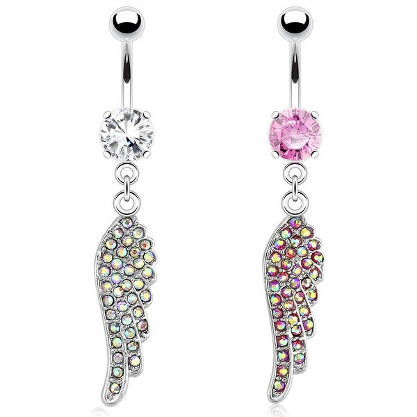 Angel Wing with Paved Gems 316L Surgical Steel Navel Belly Button Ring