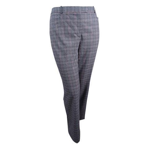 Tommy Hilfiger Women's Plaid Bootcut Pants (10, Scarlet Multi) - 10