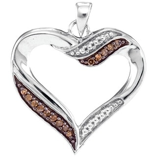 Heart Pendant 10k White Gold With Cognac and White Diamonds 0.10Ctw By MidwestJewellery