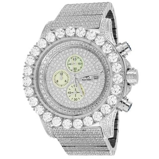 Iced Out Stainless Steel Lab Diamond Watch 48mm Chronograph BR-01 White - Silver