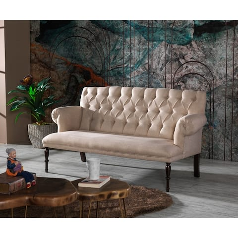 Roblero Modern Tufted Back Microfiber Sofa