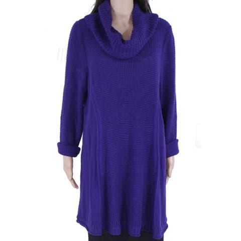 Style & Co Womens Sweater Purple Size 1X Plus Cowl Neck Knit Stretch