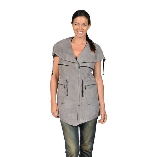 a69e0127ff Shop Runway Womens Sleeveless Suede Leather Jacket with mesh back ...