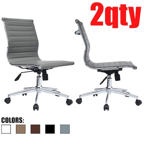 Set of 2 Gray Swivel Adjustable Height PU Leather Office Chair Mid-Back Armless No Arms Side Ribbed Executive Ergonomic