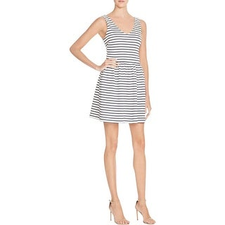 Aqua Womens Juniors Party Dress V-Neck Striped