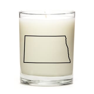 Custom Candles with the Map Outline North-Dakota, Fresh Linen