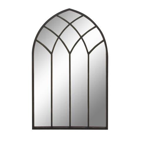 """Tall Arched Black Metal Framed Wall Mirror 30"""" X 48"""" - 30 x 1 x 48"""