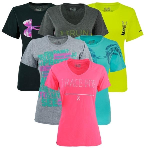 No puedo leer ni escribir Psicologicamente Samuel  Shop Under Armour Women's Graphic Mystery T-Shirt 2-Pack - On Sale ...