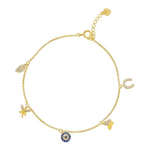 14k Yellow Gold Cubic Zirconia Lucky Charm Bracelet