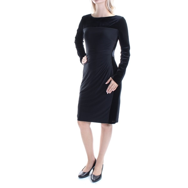 eafc292cd078 Shop AMERICAN LIVING Womens Black Long Sleeve Boat Neck Above The Knee  Evening Dress Size  6 - On Sale - Free Shipping On Orders Over  45 -  Overstock - ...