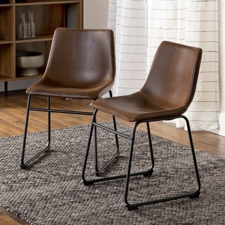 Link to Carbon Loft Prusiner Faux Leather Dining Chairs (Set of 2) - Brown Similar Items in Dining Room & Bar Furniture