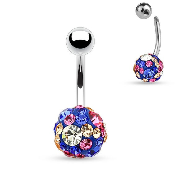 "Blue Crystal Pave 10mm Ferido Ball Surgical Steel Belly Button Navel Ring-14GA-3/8"" Length(Sold Ind)"