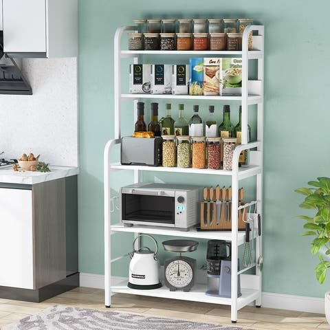 5 Tier Bakers Rack with 6 Hooks, Kitchen Shelf, Modern Microwave Oven Stand