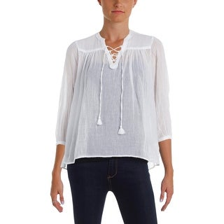 Denim & Supply Ralph Lauren Womens Peasant Top Long Sleeves Sheer