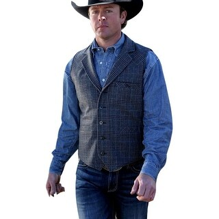 Miller Ranch Western Vest Mens Plaid Wool Notched Black