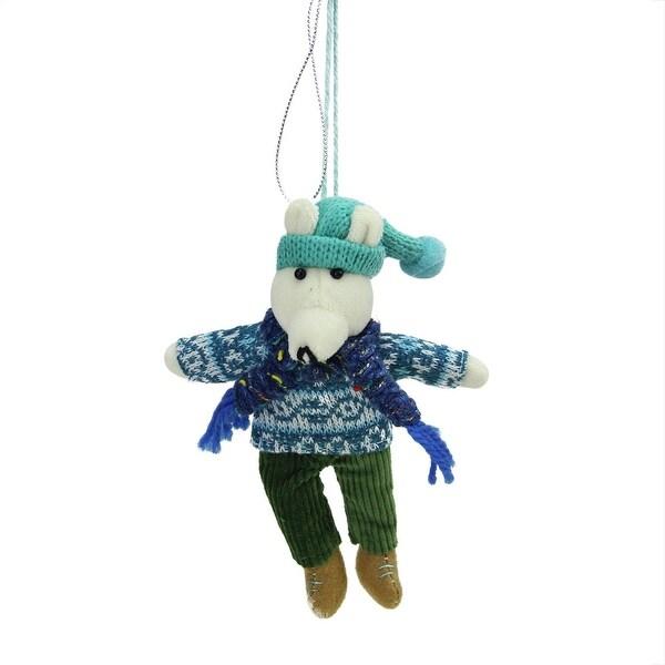 "6.25"" Bohemian Holiday Plush Polar Bear Boy with Dangling Legs Christmas Ornament - green"