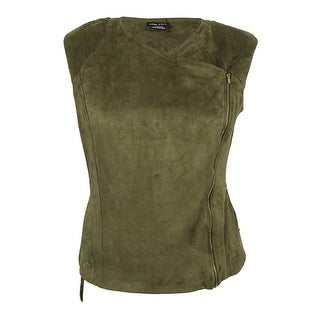 City Chic Women's Trendy Plus Size Faux-Suede Moto Vest (S, Moss)