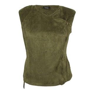 City Chic Women's Trendy Plus Size Faux-Suede Moto Vest (S, Moss) - MOSS - 16W