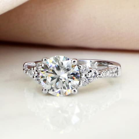 Auriya Vintage 2ct Round Moissanite and 1/5ctw Diamond Engagement Ring 14K Gold
