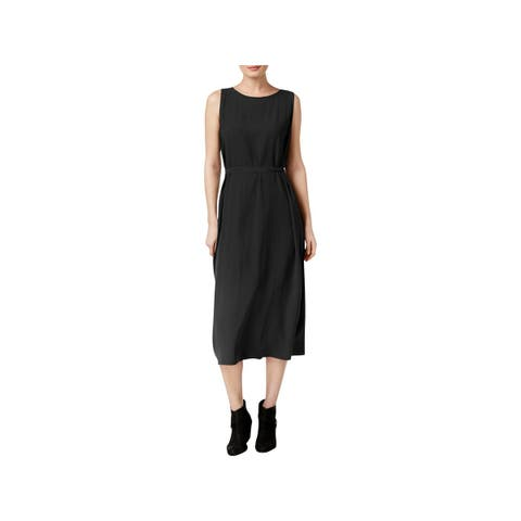 4dc6373ad2a Eileen Fisher Womens Casual Dress Silk Bateau Neck