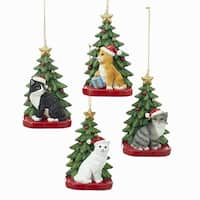 """Pack of 12 Holiday Cat with Santa Hat and Tree Christmas Ornaments 4.25"""" - green"""