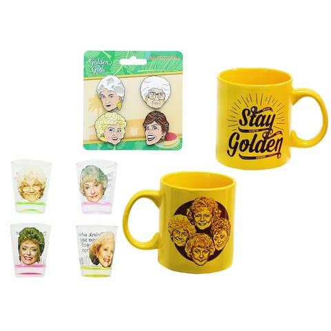 The Golden Girls 4-Piece Enamel Pin set, Shot Glass 4-Pack and Coffee Mug Gift Bundle - Multi