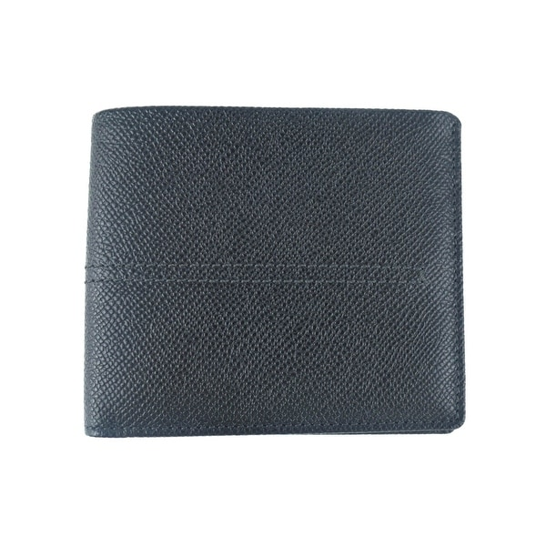 Tods Mens Black Grained Leather Central Stitched Bifold Wallet