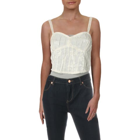 Intimately Free People Womens All I Want Corset Top Embroidered Strapless - Ivory